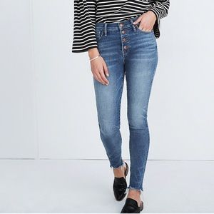 "10"" High-Rise Skinny Jeans Button-Front"